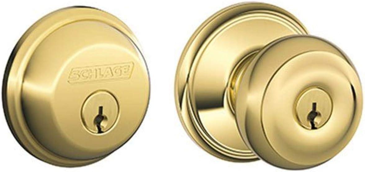Schlage FB50N V GEO 505 B60 Single Cylinder Deadbolt and F51 Keyed Entry Georgian Knob Keyed Alike, Bright Brass Finish