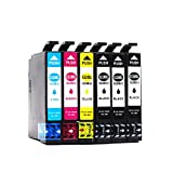 BEFON Remanufactured 220XL 220 High Yield Ink Cartridges Compatible with Epson XP-420 WF-2760 WF-2630 WF-2650 WF-2660 WF-2750 XP-320 XP-424 Printer 6 Packs(1 Set + 2 Black)