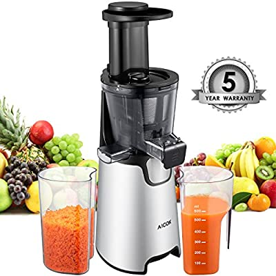 Aicok Juicer Masticating slow Juicer, Juice Extractor with Quite Motor for High Nutrient Fruit and Vegetable Juice, Frozen Desserts, Cold Press Juicer with 3 strainer, cleaning brush