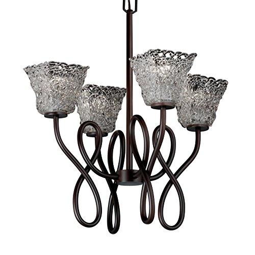 Justice Design Group Veneto Luce 4-Light Chandelier - Dark Bronze Finish with Lace Venetian Glass Shade (Capellini 4 Light Chandelier)