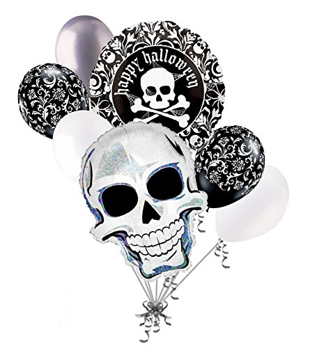 Skeleton Halloween Balloon Bouquet (7 pc Pretty Scary Skull Balloon Bouquet Party Decoration Happy Halloween Bones)