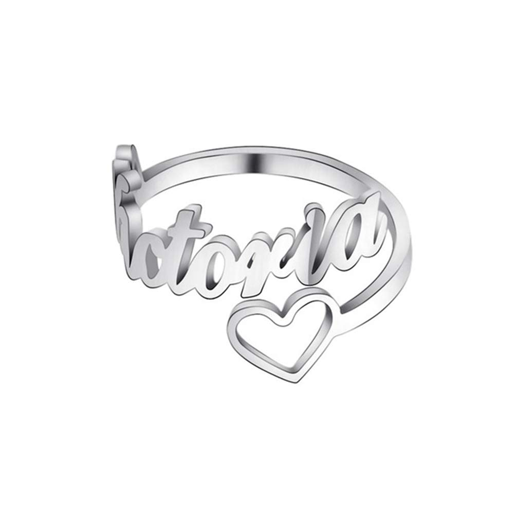 925 Sterling Silver Personalized Name Ring with Heart Girls Engraved Any Name Initial Number Stacking Ring Gift for Mother Women