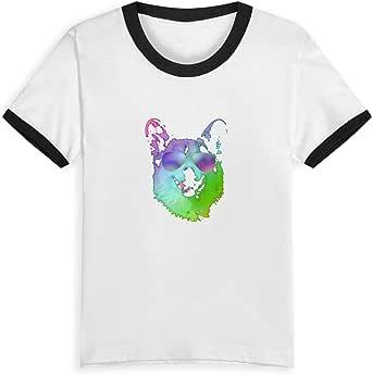 Camiseta de manga corta para niños con diseño gráfico Corgi con gafas de sol juvenil camiseta de cuello redondo para niños (niño y niña)