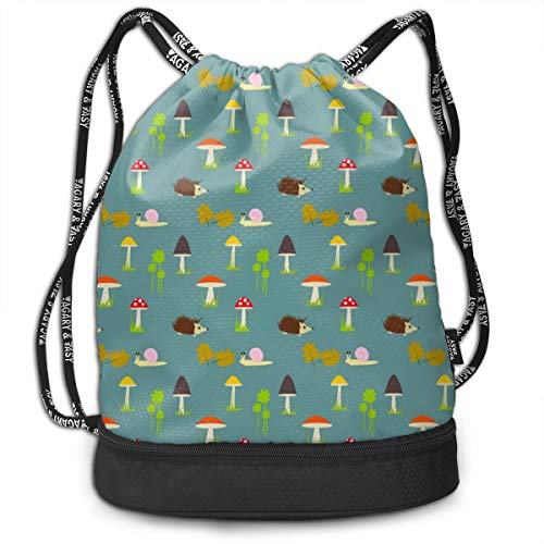 Address Verb Drawstring Backpack with Pocket Multifunctional Sturdy Mushrooms Hedgehogs Snail Sackpack Sports Gym Shoulder String Bags