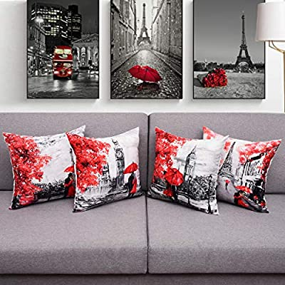 BLEUM CADE Set of 4 Pillow Covers Throw Pillow Case 18 x 18 Inch Decorations Sofa Throw Pillow Case Cushion Covers Zippered Pillowcase