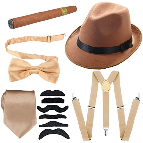 1920s Mens Accessories Hard Felt Wide Brim Panama Hat, Y-Back Elastic Suspenders & Pre Tied Bow Tie, Gangster Tie,Toy Cigar & Fake Mustache (OneSize, Champagne)]()