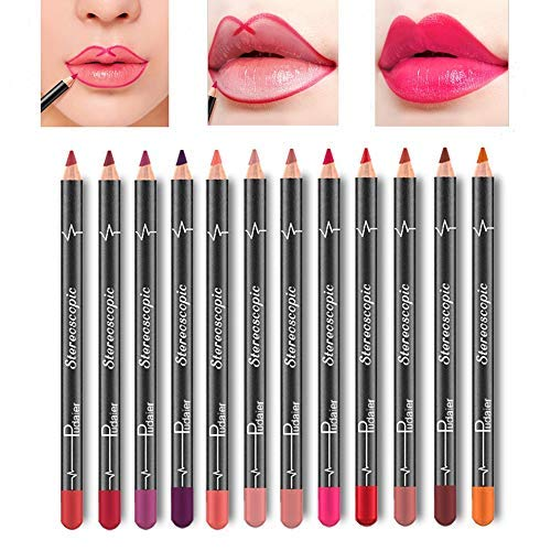 Lip Liner Pencil Set - 12 Colors Waterproof Smudge Proof Matte Velvet Long Lasting Lip Liners Makeup Lipsticks