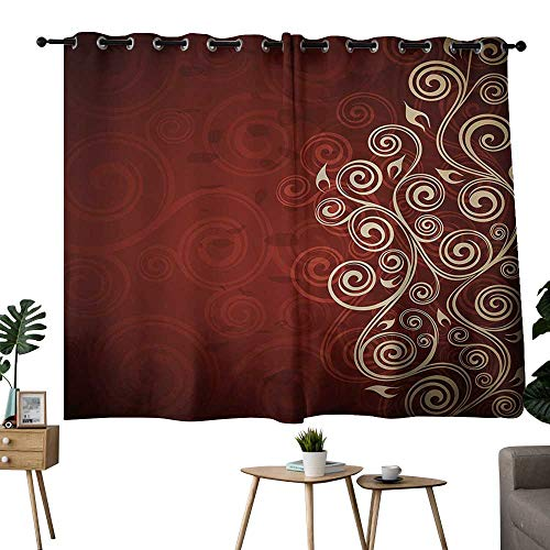 (NUOMANAN Customized Curtains Burgundy,Floral Flower Swirl Ivy Image with Ombre Details Grunge Backdrop Artwork,White Ruby and Red,for Bedroom, Kitchen, Living Room 42