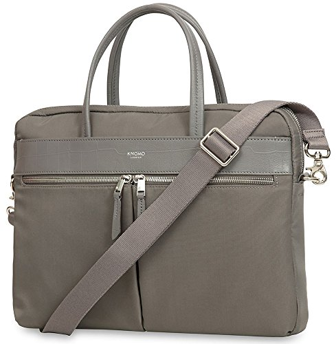 Knomo 119-101-OGY Mayfair Hanover Slim Briefcase schmale und äußerst leichte Damen Notebook-Aktentasche für 14 Zoll Notebooks | Grau