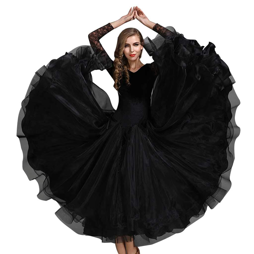 現代ダンススカートビッグスイングスカートアラミドブラックドレスボールルームダンスワルツ B07H9XH4GR  ブラック L l