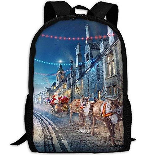 Bag Chariot Travel (CY-STORE Reindeer Chariot Street Night Print Custom Casual School Bag Backpack Travel Daypack Gifts)