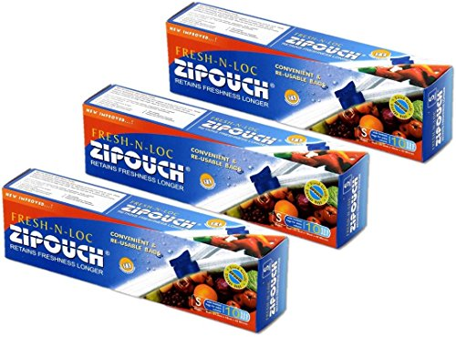 ZIPOUCH Fresh-N-Loc (Small) Slider Lock Bags (Pack of 03 x 10 Bags = 30 Bags) Microwave & Freezer Safe, Retains Freshness Longer Price & Reviews