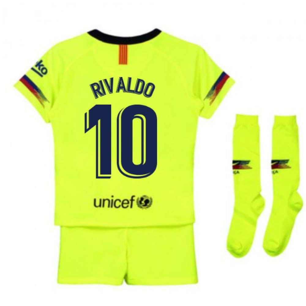 UKSoccershop 2018-2019 Barcelona Away Nike Little Boys Mini Kit (Rivaldo 10)