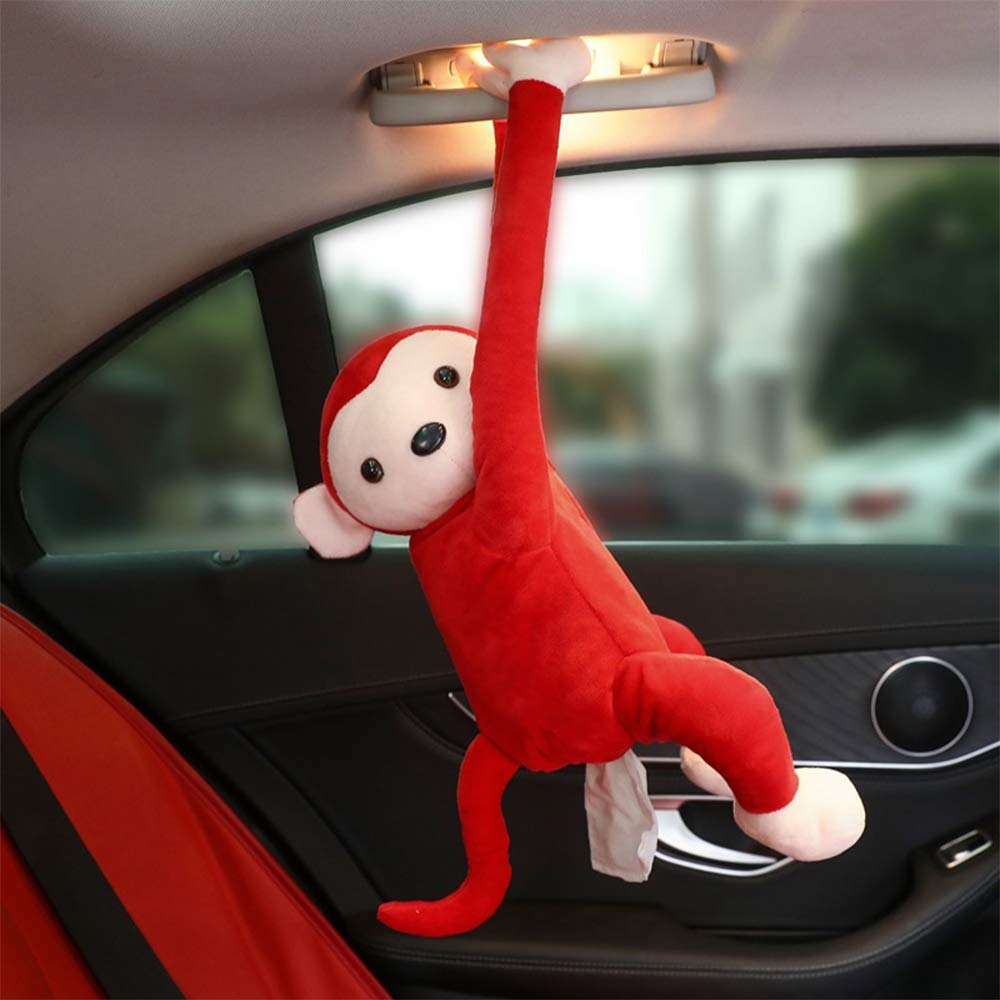 Handley-1 Multifunctional Car Tissue Box Pippi Monkey Hanging Tissue Box Hanging Ornament Pillow Interior Accessories Car Supplies Blue