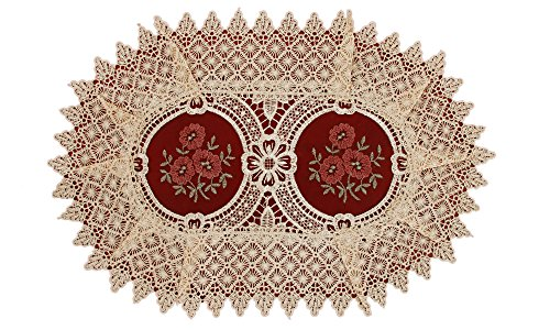 Simhomsen Vintage Look Burgundy Lace Table Placemats Doilies, Oval 12 × 18 inch, Set of 6