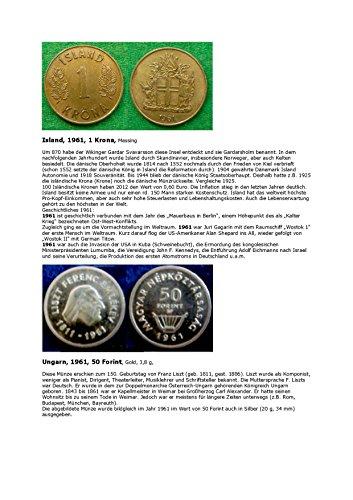 Krona Coin - Kalenderblatt zum Jahr 1961: Ereignisse des Jahres 1961 (Ein Krona Islands und 50 Forint Ungarns von 1961) (German Edition)