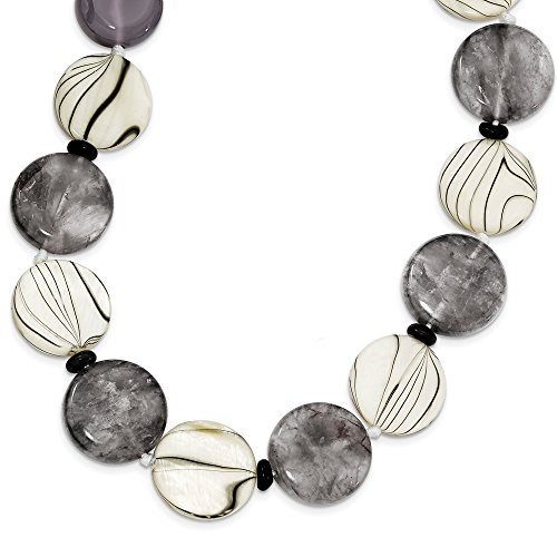 925 Sterling Silver Black Grey Agate/mop/sardonyx Chain Necklace