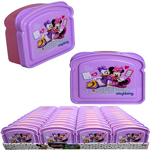 (Minnie Bowtique Daisy Duck Purple Sandwich Container Reusable BPA Free Plastic Multi-Purpose Food Storage w/Lid Bread Packed Snack Food Non-Toxic Box Case for Little Girls (3 Items))