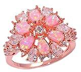 CiNily Pink Opal Zircon Women Jewelry Gemstone Rose Gold Ring Size 5-12 (8)