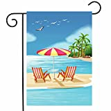ShineSnow Summer Beach Tropical Palm Tree Bird Garden Yard Flag 12''x 18'' Double Sided, Sea Ocean Vacation Polyester Welcome House Flag Banners for Patio Lawn Outdoor Home Decor