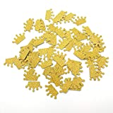 Hemarty 100pc Princess Baby Shower Decorations Crown Confetti Baby Girl Birthday Decorations Princess Confetti Gold Glitter Girl's Birthday