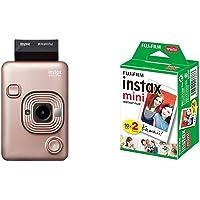 Fujifilm Instax Mini LiPlay Oro Rosa + m Instax Mini Brillo - Película fotográfica instantánea (2 x 10 Hojas)