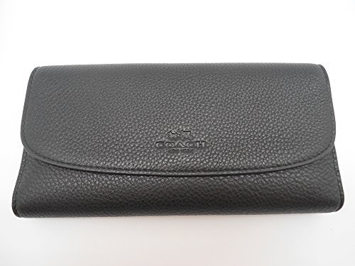 Coach Pebbled Leather Checkbook Wallet F56488, Black by Coach