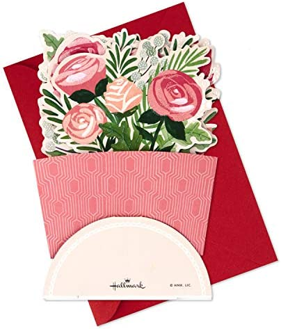 Hallmark Paper Wonder Pop Up Valentines Day Card, Displayable Bouquet (Happy Heart)