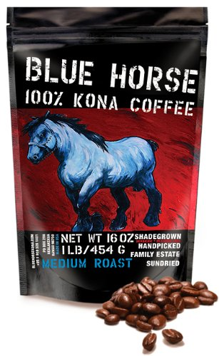 Farm-fresh: 100% Kona Coffee, Medium Roast, Whole Beans, 1 - Blue Horse Coffee