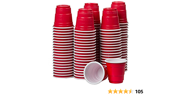 Plastic Disposable Beer Pong Party Cups Red Black Green Blue Individual Pack