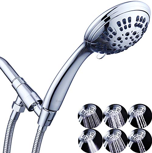 G-Promise High Pressure Shower Head 6 Spray Setting Hand Held Shower Heads with Adjustable Solid Brass Shower Arm Mount Extra Long Flexible Stainless Steel Hose Chrome Finish (Chrome)