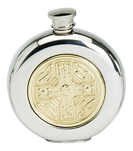Celtic Sporran Flask (Stylish Slimline 6oz Round Polished Pewter Handcast Bottle Pocket Hip Flask Featuring Brass Celtic Cross Insert)