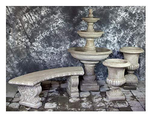 Fleur de Lis Garden Ornaments LLC Three Tier Renaissance Fountain with Italian Palazzo Urns Package Number 1016