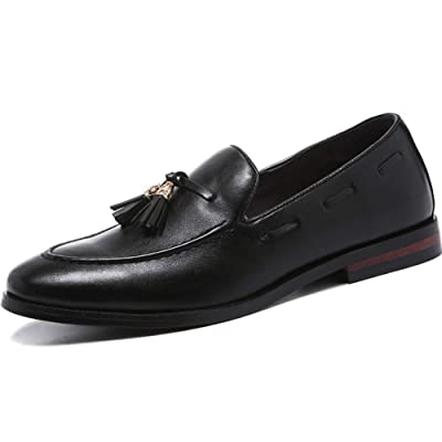 Leoed Comfort Men's Loafers with Tassels丨Animal-Friendly Leather Moccasin Slip-on 丨 Dress Shoes for Man Size 6~13 | Loafers & Slip-Ons