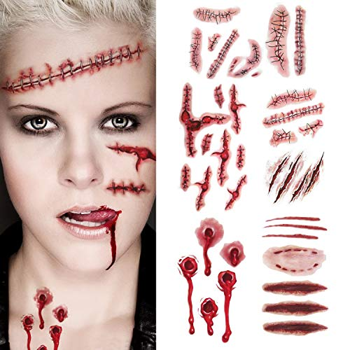 Halloween Scar Tattoos Bloody Stickers - Realistic Scratch Scar Temporary Tattoos Cosplay Prop Fake Scar Wound Stitch Tattoos Waterproof Costume Makeup Sticker Paper for Halloween Themed Party (Small) ()