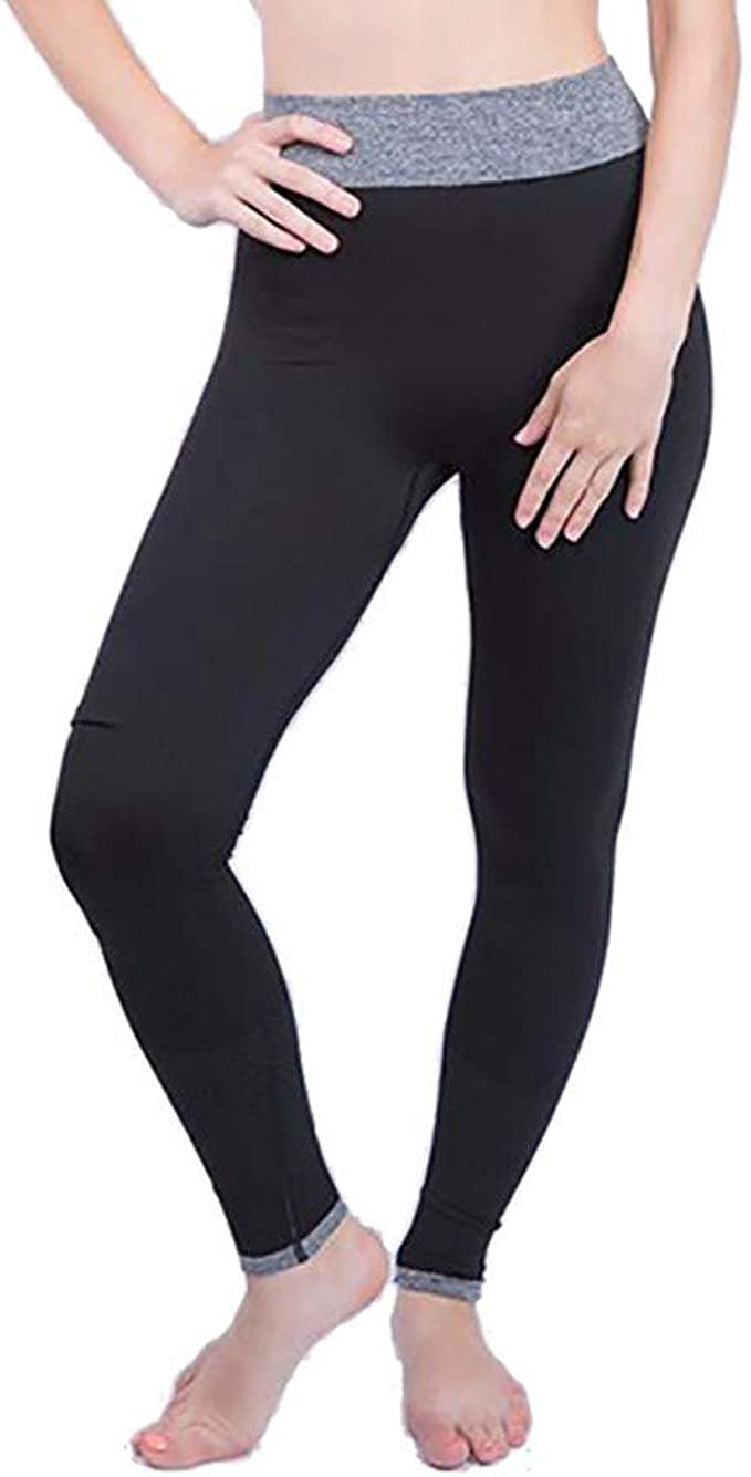 iCJJL Women Girls High Waist Tummy Control Stretchy Running Workout Leggings for Yoga with Pockets