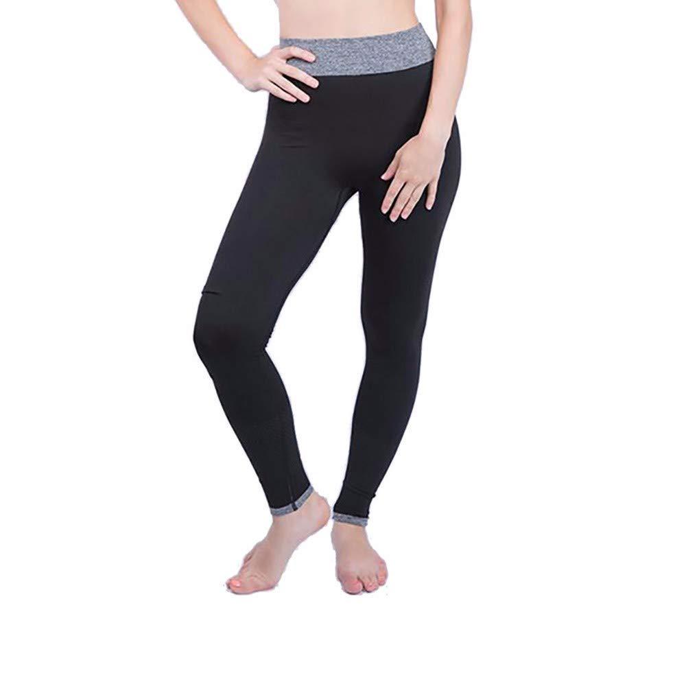 iCJJL High Waisted Tummy Control Cotton Blend Workout Running Fitness Yoga Leggings for Women Girls