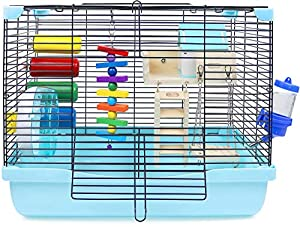 6. GalaPet Blue Gerbil Cage with Toys