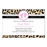 30 Invitations Girl Baby Shower Leopard Animal Print Pink Personalized Cards + 30 White Envelopes
