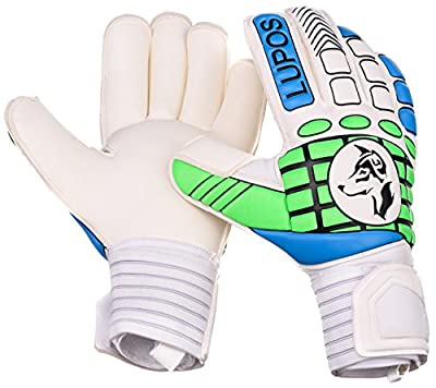 Goalie Gloves Youth, Kids, Adult - Lupos. Goalkeeper Gloves with Finger Protection to prevent hyperextension, 4 mm German latex Giga Grip palm, Double Padded Backhand and Double Length Wrist strap.