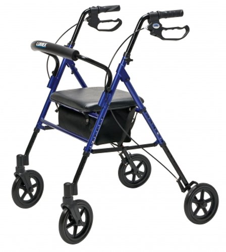 Lumex RJ4718B Set n' Go Wide Height Adjustable Rollator, Blue