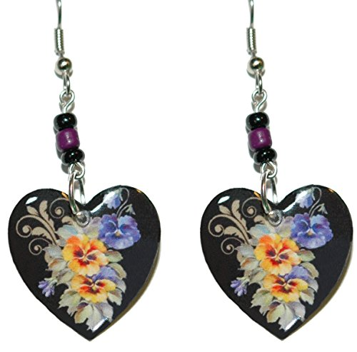 Pansies Flowers Heart Dangle Earrings