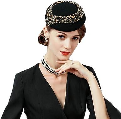 F FADVES 100/% Australian Wool Pillbox Hat Black Veil Fedora Lepoard Print Fascinator