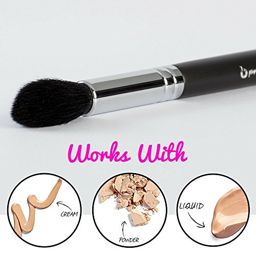 pro Tapered Highlighter Makeup Brush: Vegan Synthetic Bristles for Highlighting and Contouring Face; Small Tapered Point to Highlight Eyes, Brows; Works with Creams, Powders, Minerals