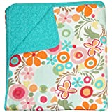 Cotton Tale Designs 100% Cotton Colorful Fun Bold & Bright Floral & Polka Dots Red, Orange, Pink, Turquoise, Blue, Green, Multi Color Lizzie Reversible Quilt - Girl Flower Power (Twin)