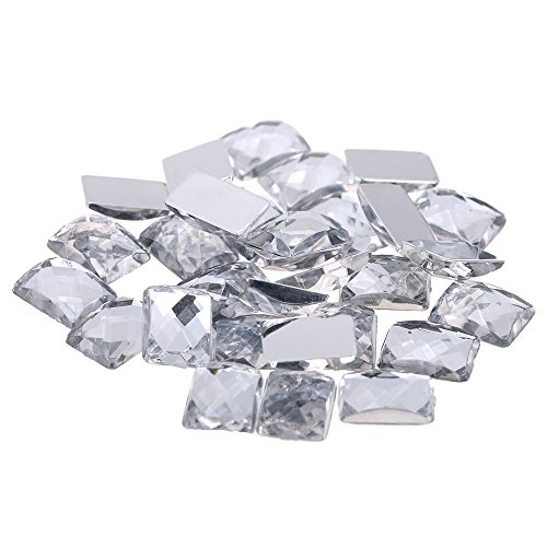[Nizi Jewelry 6X8MM RECTANGLE Shape Acrylic Rhinestones Flatback EARTH Faceted Strass Gems 3D Nail Art Decorations CRAFT ART ACCESSORIES CLEAR COLOR 6X8MM 2000PCS] (Faceted Rectangle Shape)