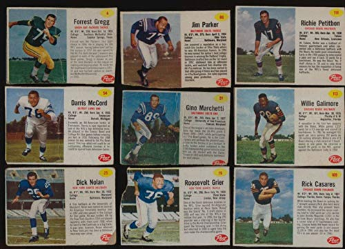 1962 Post Football G avg cond vy low grade lot of 58 diff cards BV 375 ()