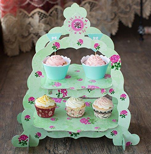 Generic Doble Capa Verde Flor decoración Cupcake Soporte ...