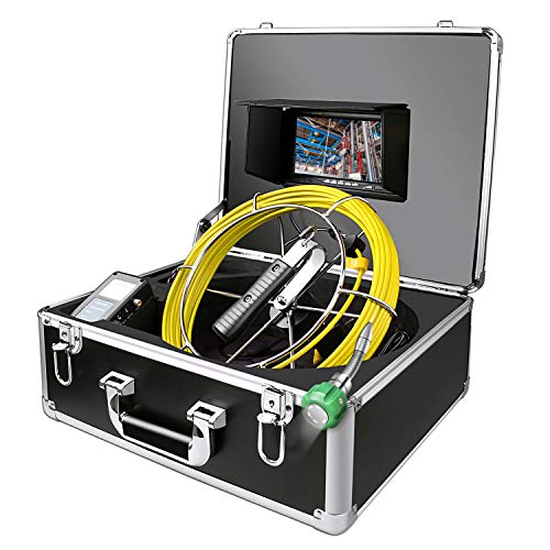 20m Camera - Sewer Camera, IHBUDS 20M/65Ft Pipeline Inspection Camera Drain Sewer Industrial Endoscope Video Plumbing System with 7 Inch LCD Monitor Snake Cam HD Video Waterproof Pipe Camera (20M Without DVR)
