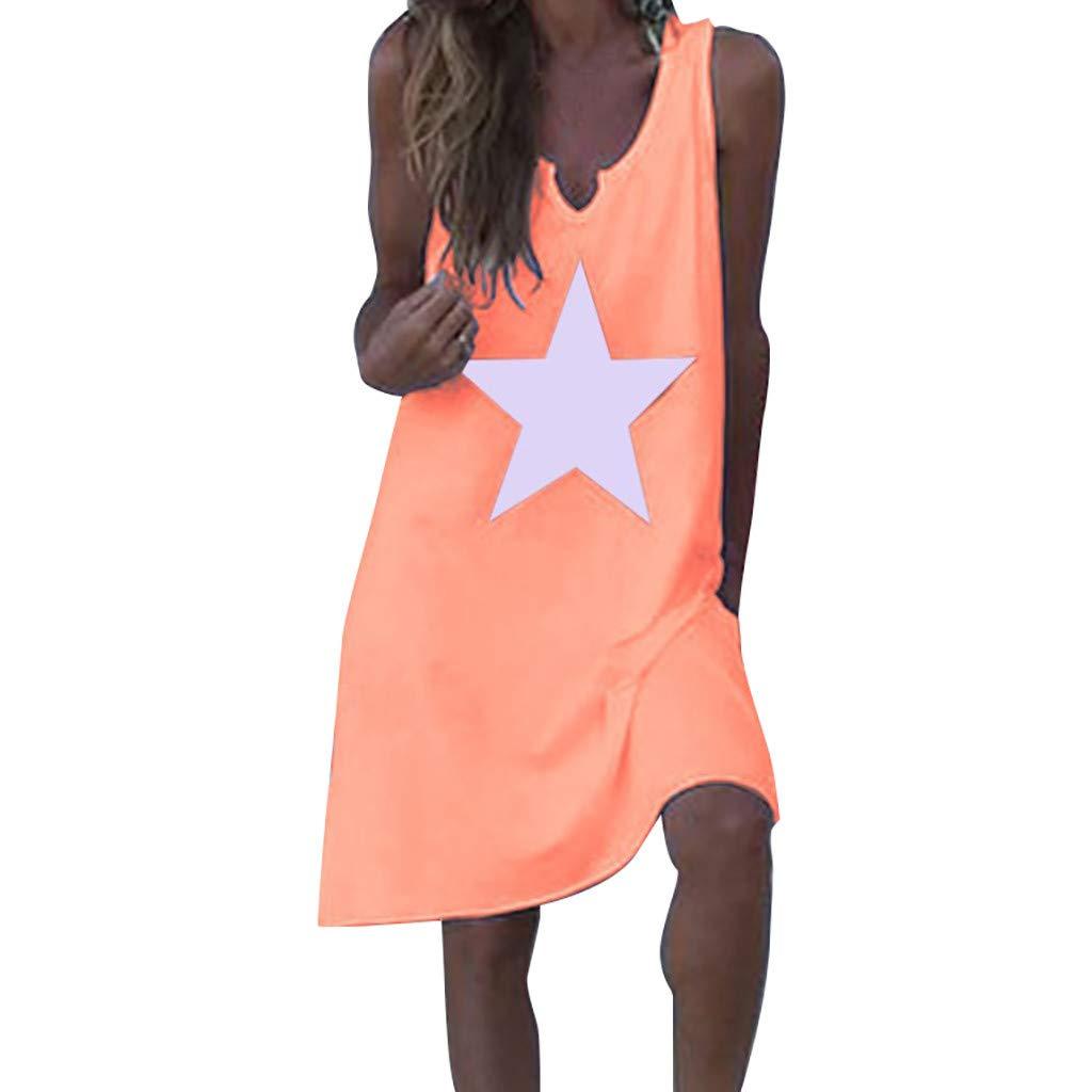 Sttech1 Women Summer Casual Stars Print Dress V-Neck Sleeveless Loose Dress Pink